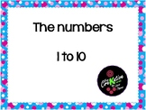 Numbers 1-10 with unicorns theme