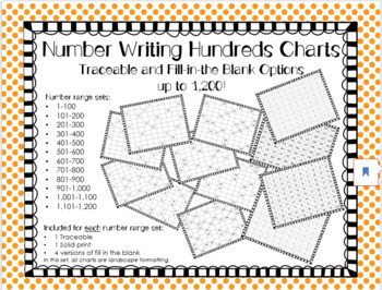 Hundreds Charts to 1,200: Full, Traceable, & Fill In The Blanks
