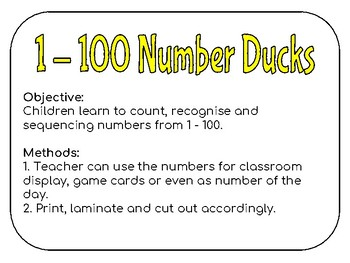 1 - 100 Number Ducks