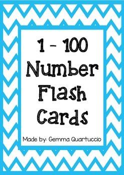 1 - 100 Number Flash Cards