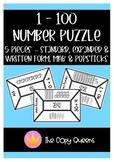 1 - 100 Number Puzzle. Standard, expanded & written form, MAB Blocks & Popsticks
