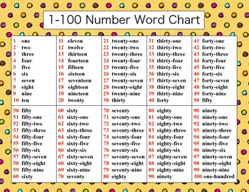 1 100 number word chart by go gus teachers pay teachers