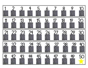 1-100 Number strips: Chalkboard Theme