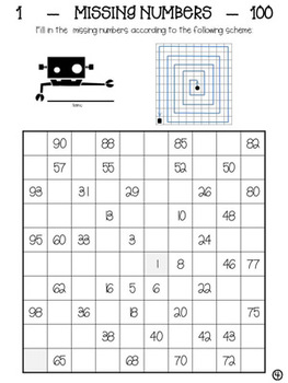 """1-100 Worksheets """"Missing numbers"""""""