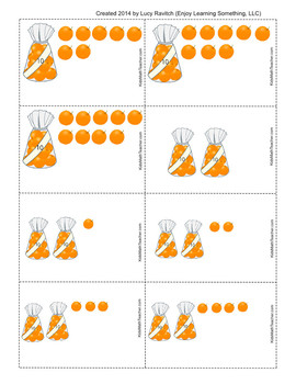 1-100 cards for teaching ones and tens (single oranges, bags of ten, box of 100)