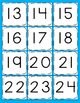 1-100 number cards for hundreds chart light blue