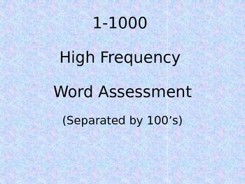 Fry Words / Instant Words / 1-1000 / Powerpoint Presentation