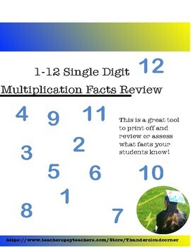 1-12 Multiplication Facts Assessment