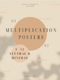1-12 Multiplication Posters - Neutral Theme