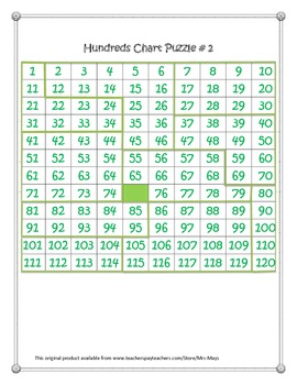 1-120 Hundreds Chart Puzzles