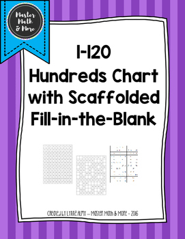 1-120 Hundreds Charts with Scaffolded Fill-in-the-Blanks