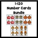 Number Flash Cards 1-120: Fall Bundle