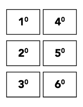 1-15 Exponents Flash Cards