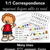 1:1 Correspondence -  Print Awareness - Early Literacy Assessment