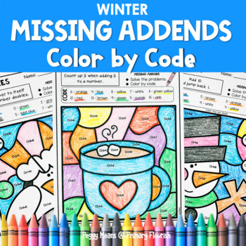 Missing Addends | Color-by-Code Addition {WINTER}