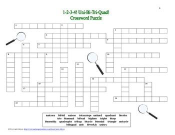 1-2-3-4! Uni-Bi-Tri-Quad Prefixes Crossword Puzzle