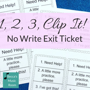 1, 2, 3 Clip It No Writing Exit Ticket