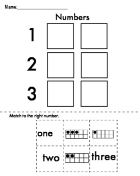 1, 2, 3 - Math Center Number Matching Cut and Paste