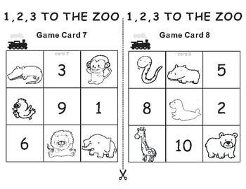 1,2,3 TO THE ZOO Eric Carle -Tic Tac Toe Bingo Game Cards