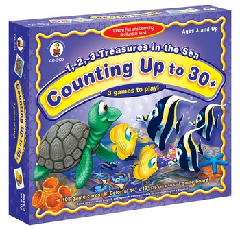 1, 2, 3, Treasures in the Sea: Counting to 30 + Board Game Grades PK-K 3123