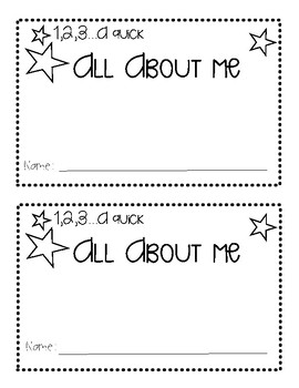 1,2,3... a quick All About Me! Booklet