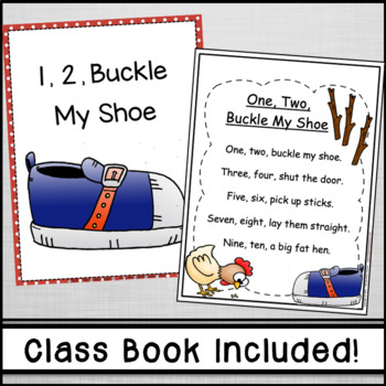 1, 2, Buckle My Shoe Nursery Rhyme Emergent Reader & Class Poster