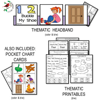 1, 2, Buckle My Shoe Nursery Rhyme Literacy Centers for Emergent Readers