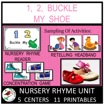 1, 2, Buckle My Shoe Nursery Rhyme Literacy Centers for Em