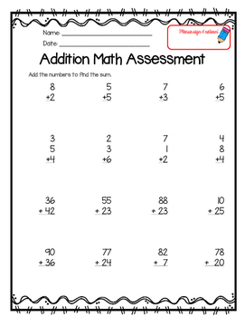 1 & 2 Digit Addition Assessment