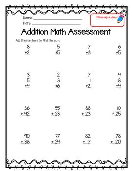 1 & 2 Digit Addition Assessment