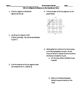 Midpoint and Distance in the Coordinate Plane with Answers Editable Word