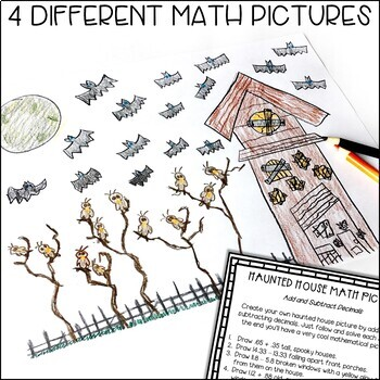 Solve and Color Decimal Operations   October Math Activities