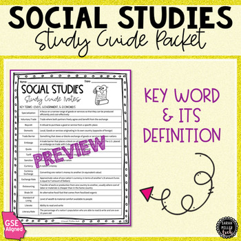 6th Grade Social Studies Study Guide Review Packet
