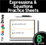 8th Grade Practice Sheets Expressions Equations Distance Learning