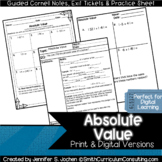 Absolute Value Guided Cornell Notes | Distance Learning