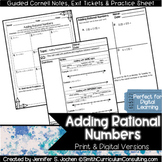 Adding Rational Numbers Guided Cornell Notes | Distance Learning
