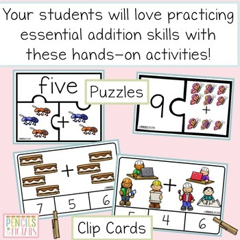Addition Activities - Clip Cards, Puzzles, Counters, and More for Centers