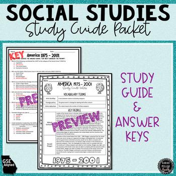 America 1975-2001 Assessment & Study Guide (SS5H7, SS5H7a, SS5H7b, SS5H7c)