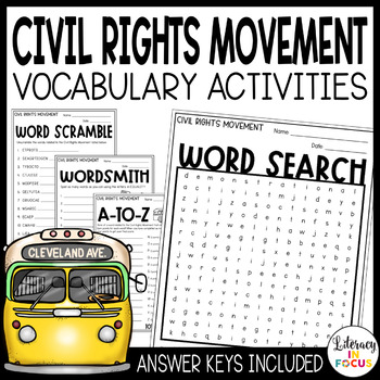 Civil Rights Movement Vocabulary Activities | Martin Luther King Vocabulary