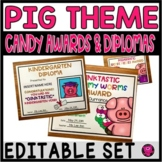 EDITABLE Candy Awards End of Year Pig Theme Certificates