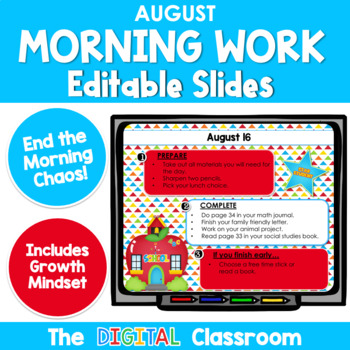 Editable AUGUST -Themed Morning Work PowerPoint Templates