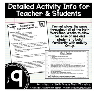 One Step Equations   6th Grade Math Workshop Activities