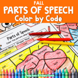 Parts of Speech Color by Code Fall Grammar Worksheets