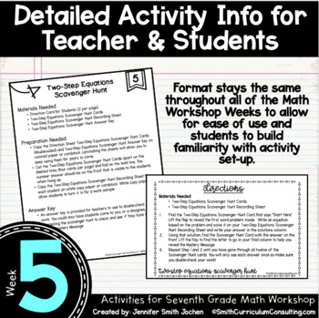 Real World Problems with Two-Step Equations | 7th Math Workshop Activities