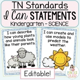 Tennessee Science Standards for Kindergarten- Student-Friendly I Can Statements