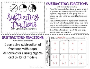 Subtracting Fractions with Common Denominators Task Cards | TEKS 4.3e
