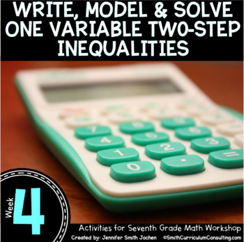 Write, Model & Solve Two Step Inequalities | 7th Math Workshop Activities