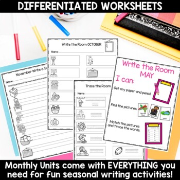 Write the Room 12 Monthly Differentiated Writing Activities