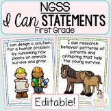 NGSS Student-Friendly I Can Statements - Science Objectives for First Grade