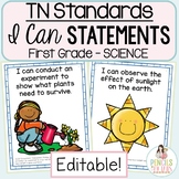 Student-Friendly I Can Statements - Tennessee Science Standards - Kindergarten